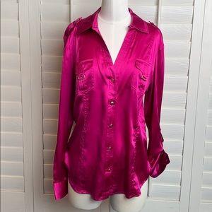 NWT Cache  large silk fuchsia button-down blouse
